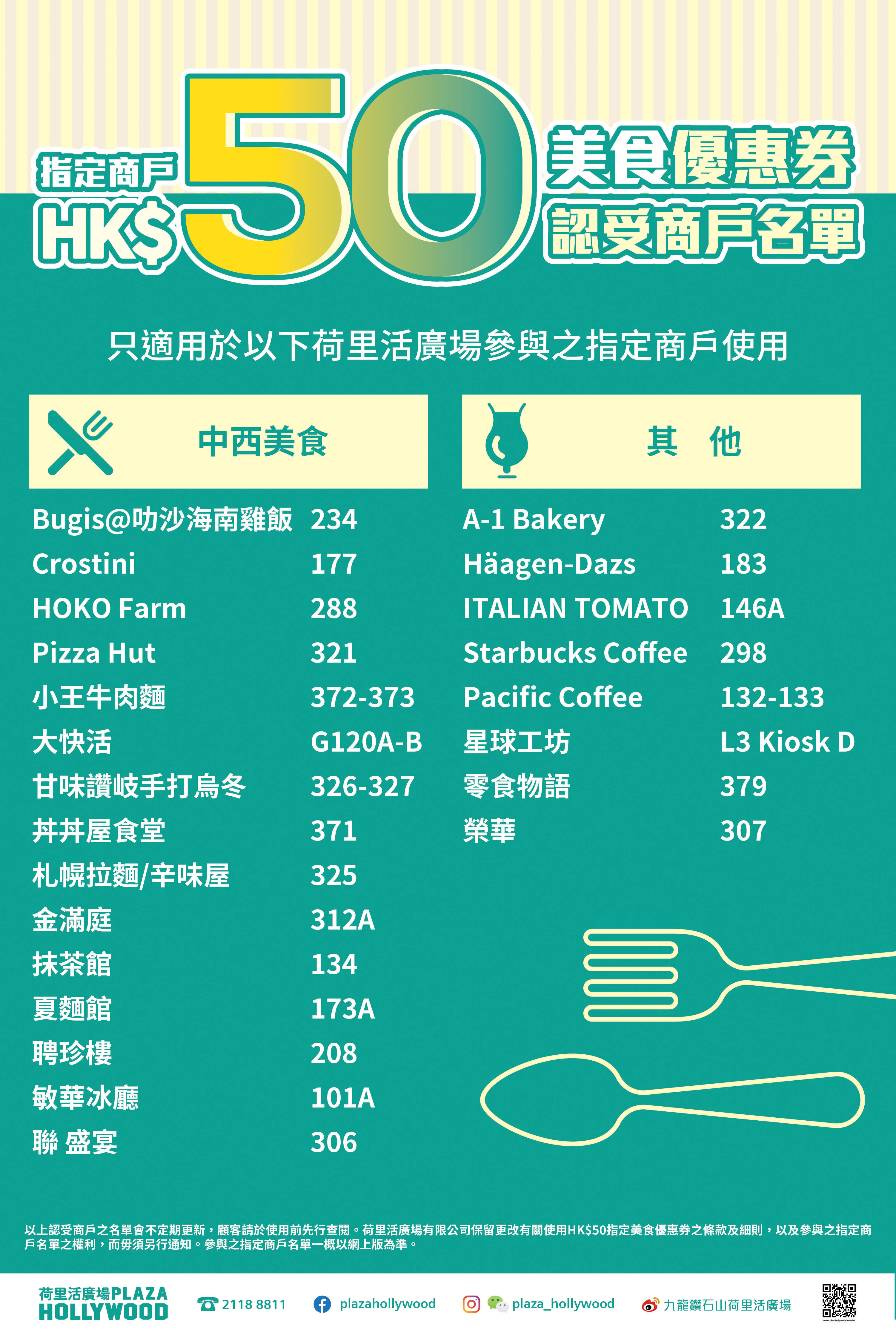 Plaza Hollywood HK$50 Dining Coupon - Participating Tenant List