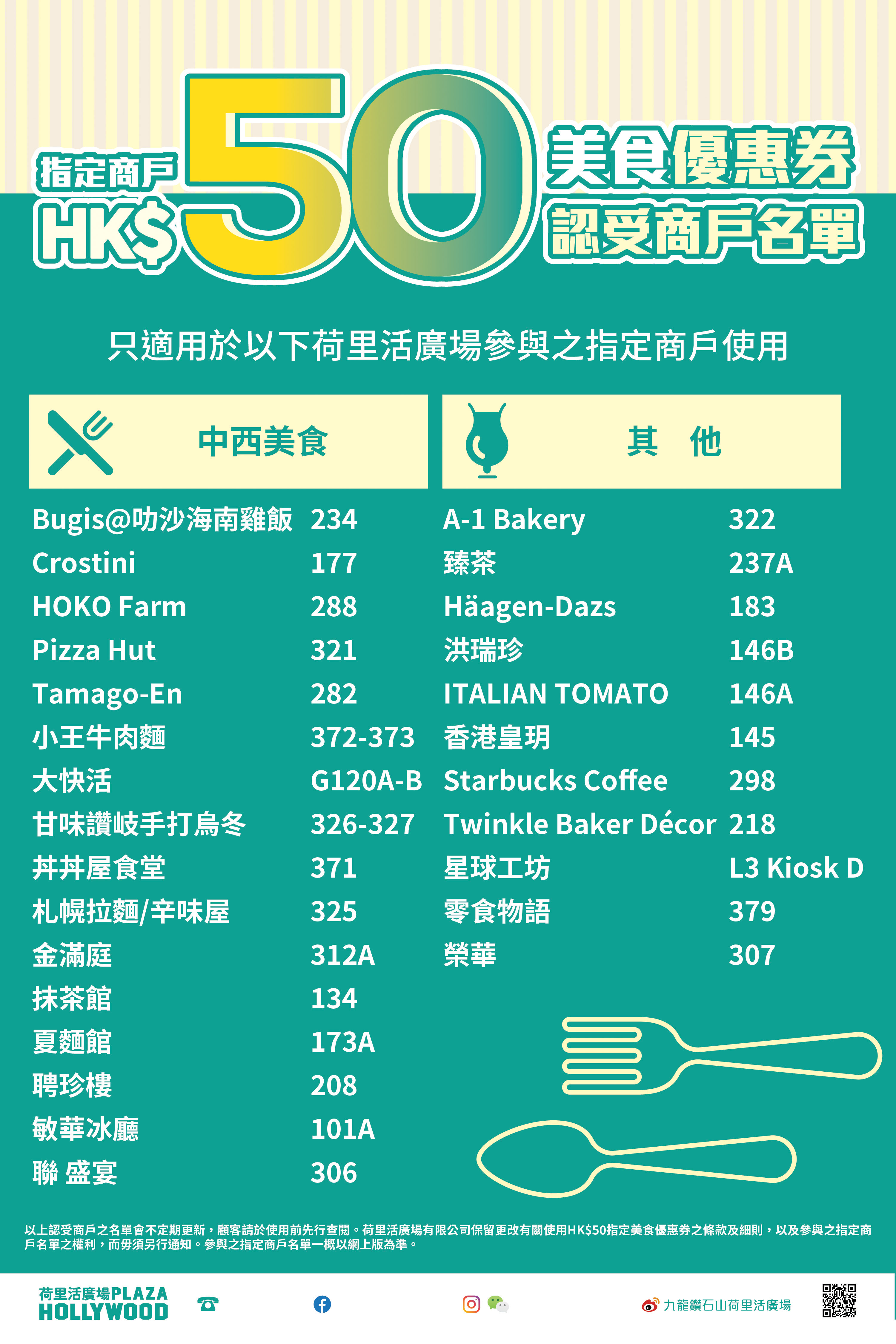 Plaza Hollywood F&B HK$50 Conditional Coupon - Participating designated outlets at Plaza Hollywood